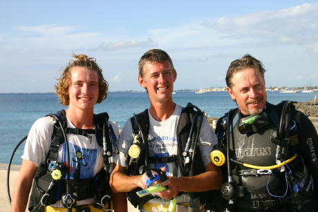 George, Graham and Peter about to go diving